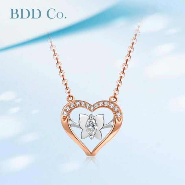 【BDD Co.】18k玫瑰金 心型蝴蝶鑽石項鏈