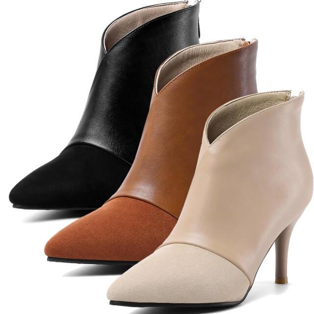【Taroko】目光焦點大尺碼秋冬皮革拼貼絨面短靴(3色可選)